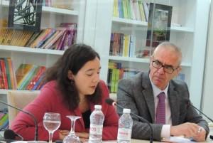 Ambassador Dewi van de Weerd speaks at the European Forum as AIIS Director Albert Rakipi listens on. (Photo: AIIS)
