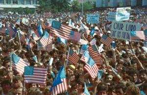 A massive crowd welcomed Secretary of State James Baker in Skanderbeg Square on June 22, 1991. (c) Gani Xhengo