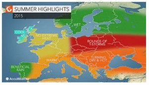 Heatwaves will hit the entire region in July and August. (Graphic: AccuWeather Global Weather Center)