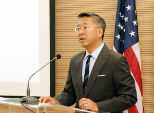U.S. Ambassador Donald Lu speaks at an event in Tirana earlier this year. (Photo: U.S. Embassy/Facebook)
