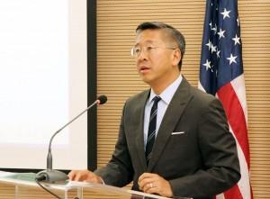 U.S. Ambassador Donald Lu speaks at an event in Tirana earlier this year. (Photo: U.S. Embassy/Facebook)