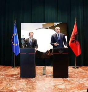 President Tusk and Prime Minister Rama speak at a joint press conference. (Photo: GoA/Facebook)