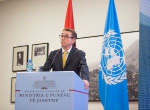Brian Williams, the UN Resident Coordinator and UNDP Resident Representative in Albania, speaks at an event to mark Albania's 60 years of UN membership. (Photo: UNDP Albania)