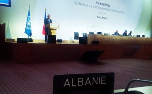 Albanian President Bujar Nishani speaking at the United Nations Climate Change Conference held in the Paris region. (Photo: President.al)