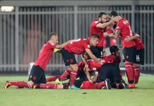 Albania celebrate after beating Macedonia 2-1  with a late header in their opening World Cup qualifier (Sept. 2016)