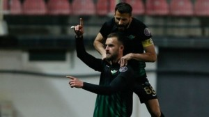 Sokol Cikalleshi celebrates after scoring an injury time winner