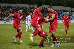 Partizani players celebrate after scoring the second goal against Luftetari: Photo: FK Partizani
