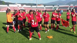 Albanian women celebrate after a last-minute victory with Greece. Photo: Albanian Football Association