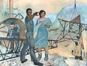 Socialist realism painting by Zef Shoshi