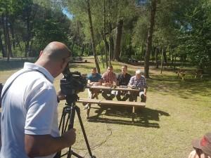 Environmentalists speak at a press conference at the Divjake-Karavasta park. Photo: PPNA