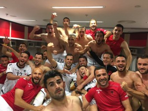 Albanian players celebrate after the victory with Israel. Photo: Albanian Football Association