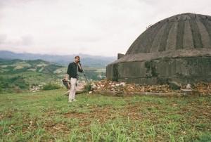 Director Dan Shutt at concrete bunker in Elbasan ©2017 Bruce Collier/Danchfilm