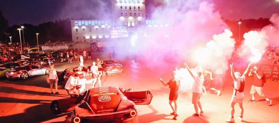 Gumball 3000 luxury sports cars parade in Tirana