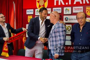 Partizani President (C) Gazmend Demi shakes hands with Mark Iuliano, Lucciano Moggi (R)