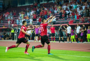 Midfielder Odise Roshi was Albania's protagonist giving the national side the lead, but also inflicting a penalty earning Macedonia an equalizer. Photo: Albanian Football Association