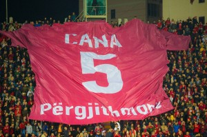 "Fans unveil a giant Cana shirt reading ""Cana forever"": Photo: Albanian Football Association"