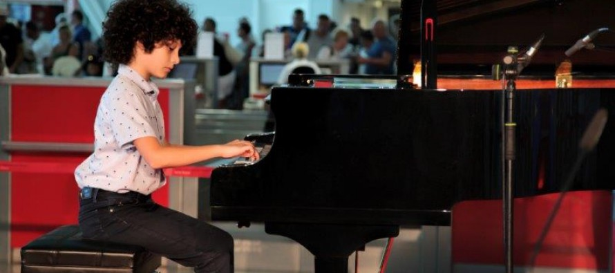 Young pianists entertain passengers with 'Chopin flying from Tirana International Airport'