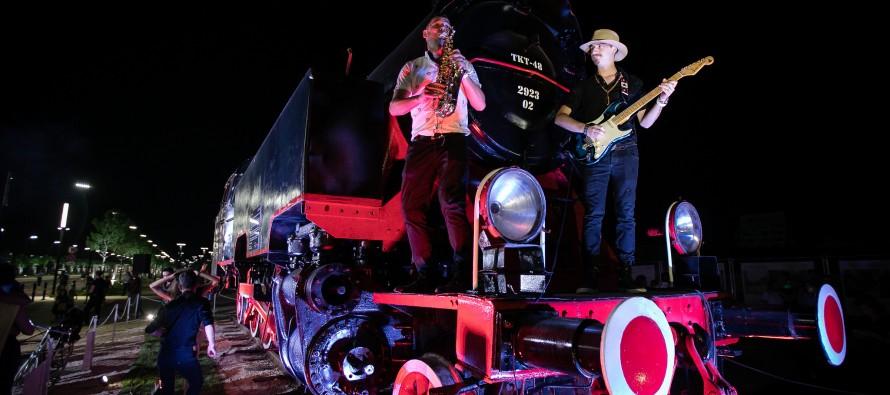 Steam locomotive installation in honor of Tirana's future, first-ever electric train