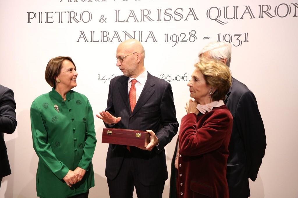 Cristina Quaroni (left) talking to Alberto Cutillo (right), Italian Ambassador to Albania