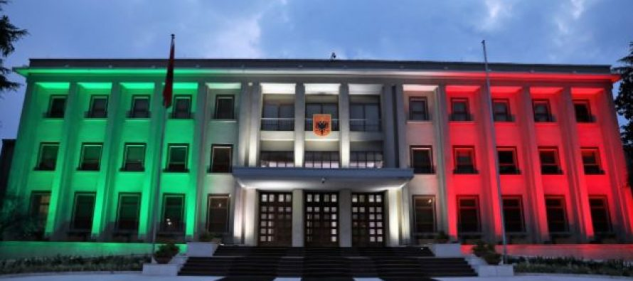 Presidential Building lights up with colors of Italian flag